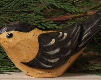 Hand Carved Windowsill Bird (GoldFinch) carved from white pine.