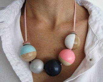 wooden bead necklace hand painted - bright and neon colors
