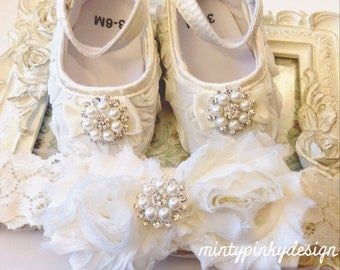 Ivory / Off White Baby Shoes, Baby Shoes and Headband, Christening, Baptism Shoes,  Satin Flower Baby Shoes, Toddler Shoes, Newborn Shoes