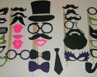 31 Photo Booth Props Mustache on a stick Weddings Birthdays (2017DC)