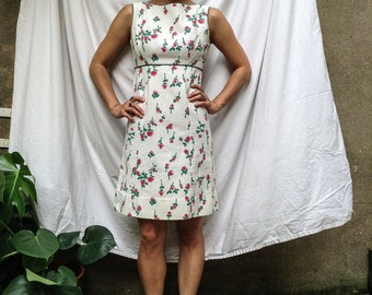 Vintage floral spring summer mini dress xs