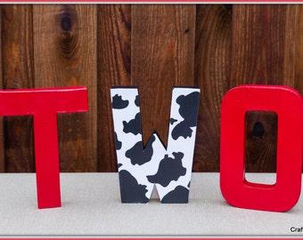 Cow theme party, Cowboy Party Decoration, Farm theme party, , Cowboy party centerpiece, barnyard party, boy's Western Party, Block Letters