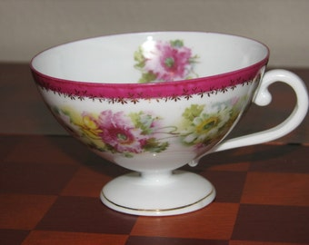 Carl Tielsch, Hand Painted Teacup, German China, 1800's Teacup, Floral Teacup, Wedding Decor, Collectible Teacups, Tea Party, Garden Wedding