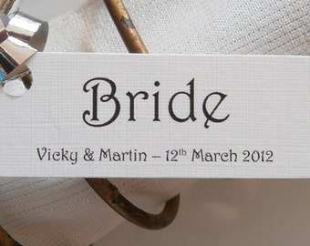 10 Personalised Wedding Place Card Name Tags - Any Text