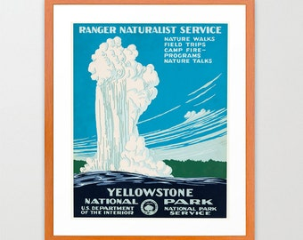 Yellowstone National Park Poster - Old Faithful - WPA Poster - National Park Art - Great Outdoors Poster