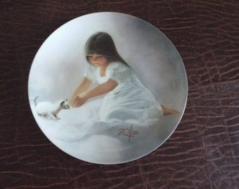 Tender Beginning Collector Plate by Donald Zolan Childhood Friendship Collection Little Girl, Sleeping, Boxed, Certificate Gift under 10
