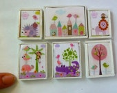 Dollhouse wall art - 6 animals, trees and flowers for a nursery or child's room.