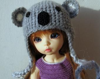 """Knitted cap """"Koala"""" for doll YoSD BJD."""