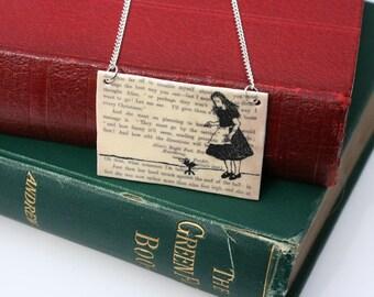 Classic Literature - Alice in Wonderland Silhouette Illustration Shrink Plastic Necklace.