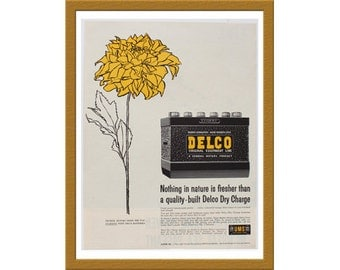 "1957 Delco Dry Charge Battery Color Print AD / General Motors leads the way / 9"" x 13"" / Original Advertisement / Buy 2 ads Get 1 FREE"