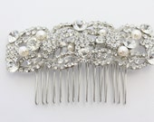 Pearl hair comb,Bridal hair comb,Wedding headpiece,Bridal hair piece,Wedding hair comb,Bridal jewelry.Wedding hair piece,pearl bridal comb - Judiscrystal