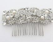 Pearl hair comb,Bridal hair comb,Wedding headpiece,Bridal hair piece,Wedding hair comb,Bridal jewelry.Wedding hair piece,pearl bridal comb - Judiscrystal