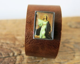 Bracelet of rustic brown leather, with image Holy woman, D01