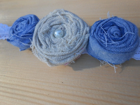 Jean, Burlap and Pearl Headband