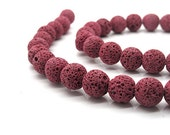 Lava beads, deep red color round lava beads, 10mm 16 inch strand 40 pieces