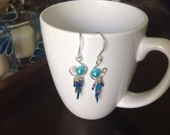 handmade sterling silver and blue dangle earrings
