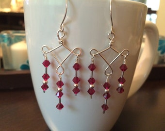 handmade sterling silver and ruby chandelier earrings