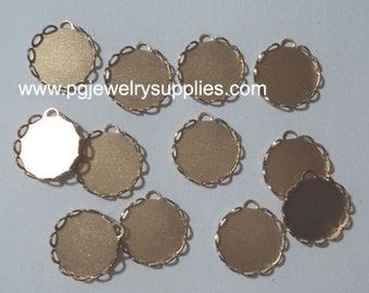 15mm round lace edge cameo cab settings 1 loop (12 pcs)