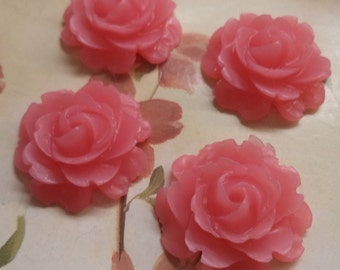 22mm round cabochon rose resin translucent pink 4 pc lot l