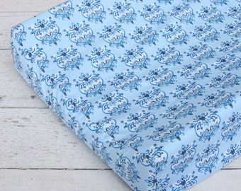 CLEARENCE- Blue Damask Changing Pad Cover