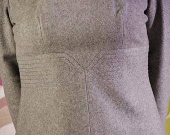 Vintage 60s mod wool day dress grey size S new old stock