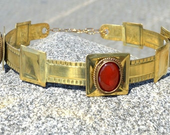 ARTHUR MEDIEVAL CROWN King Nobleman with stones Red Agate