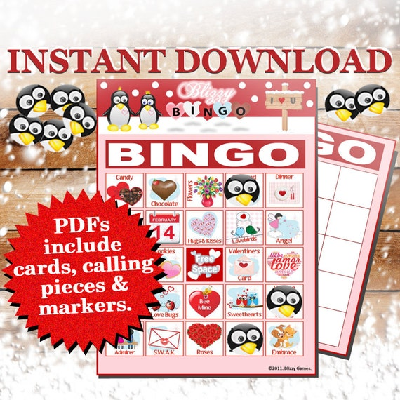 Blizzy Bingo VALENTINES DAY Printable PDFs Contain By