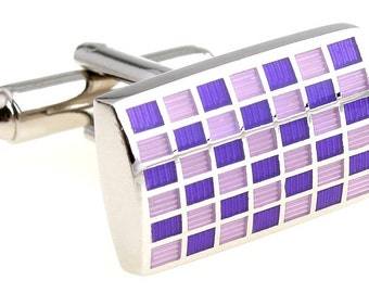 Silver with Purple and Pink Squares Cufflinks Cuff Links