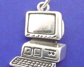 PERSONAL COMPUTER Charm, Desktop PC .925 Sterling Silver Charm