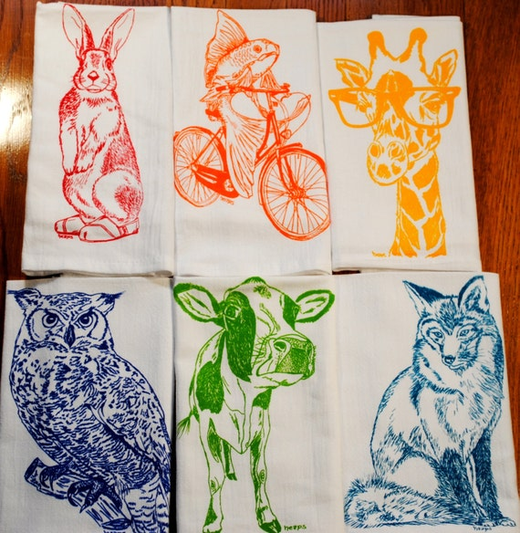 cloth dinner napkins screen printed recycled by heapshandworks