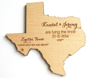 Rustic Wood Save the Date Magnet. State or Country Shape, Customized with Your Information