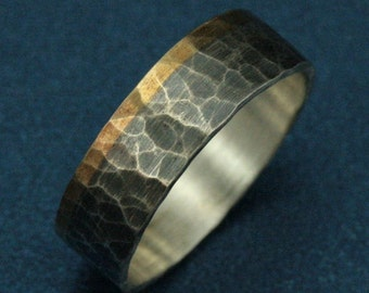 Hammered Ring--The Dark Heart Band--Men's 14K Gold and Silver Ring--Bimetal Wedding Band-Flat Two Tone Ring-Oxidized Silver Ring-Rustic Band