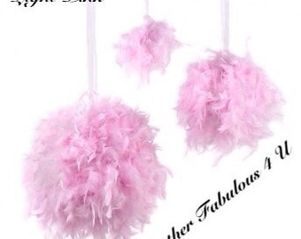 """12 """" Feather Kissing Ball,Feather Ball,Feather Pomander,Party Decorations,Wedding Decorations, Sweet 16  Decorations, Hanging decorations"""