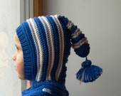 READY TO SHIP all sizes: 6-12 months, 1-3-6-10 years. Royal blue elf hat, Knit  Baby, Toddler, Boy Balaclava Hat with Pom Pom Tail.