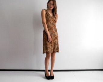 SALE !! vintage leopard print mesh layer surplice frill  v neck  tank dress