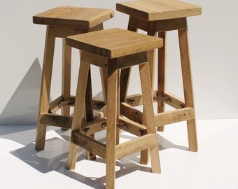 Rustic Bar Stool Reclaimed Barn Wood Raw wSquare Top