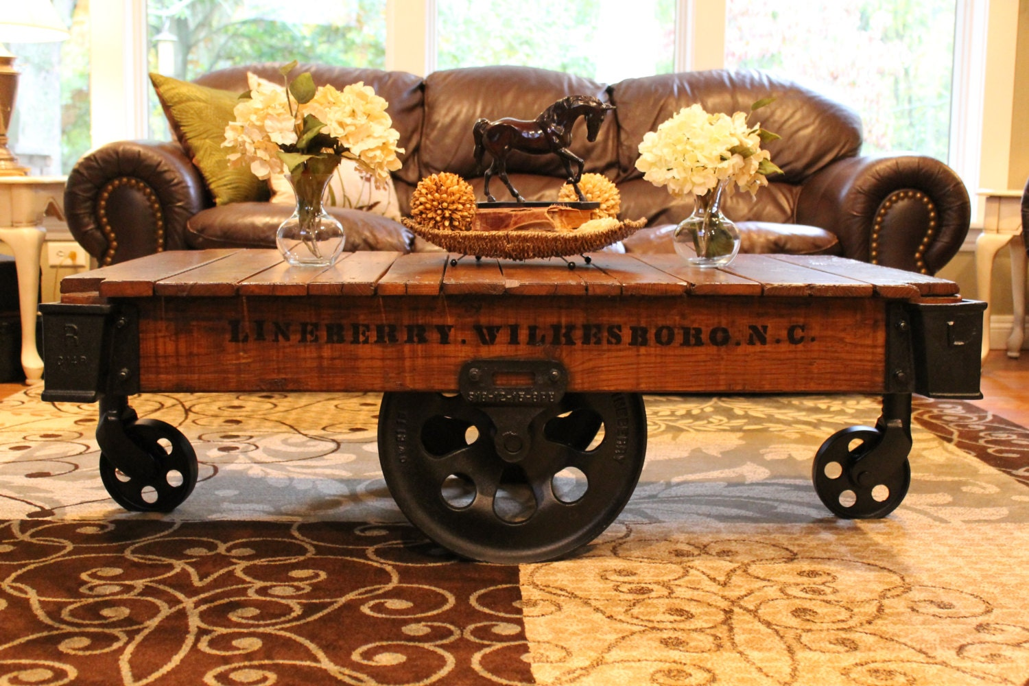 Vintage Restored Lineberry Factory Cart Coffee Table By Keeriah
