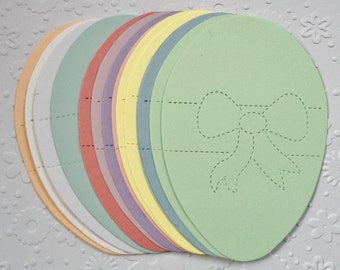 15 large pastel Detailed Easter Egg die cuts with bow for cards, toppers, cardmaking, scrapbooking projects