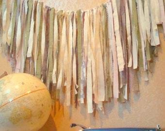 FABRIC GARLAND, Ribbon BANNER - custom Garland, Shabby Chic, Romantic, Modern, Rustic, Handmade, Wedding, Nursery, Shower // You PiCK CoLoRs