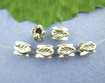 10 Silver Metal Leaf Beads 4316