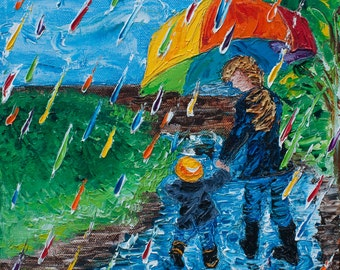 "10"" x 10"" (25cm x 25cm)  Rainbow Rain Puddle Jumping ""Puddle Jumping (no. 4)""  Oil on Canvas Original Fine Art Palette Knife Painting"