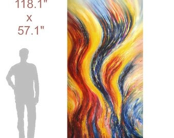 """118.1"""" x 57.1 """" XL Large Abstract Painting Original XL Acrylic Canvas Big Size Abstrakt Großes Gemälde ,UNSTRETCHED! by Peter Nottrott"""