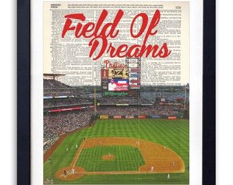 Philadelphia Phillies Stadium Field Of Dreams Upcycled Dictionary Art Print Repurposed Book Print Recycled Dictionary Page -Buy 2 Get 1 FREE