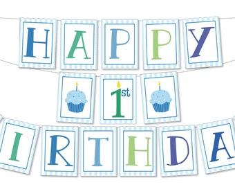 Printable 1st Birthday Banner - Cupcake Birthday Boy