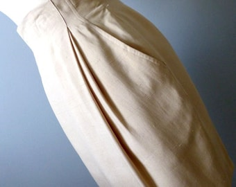80s High Waist Silk Pencil Skirt  - Small - Anne Klein II- Vintage Beige Skirt - Mad Men Classic