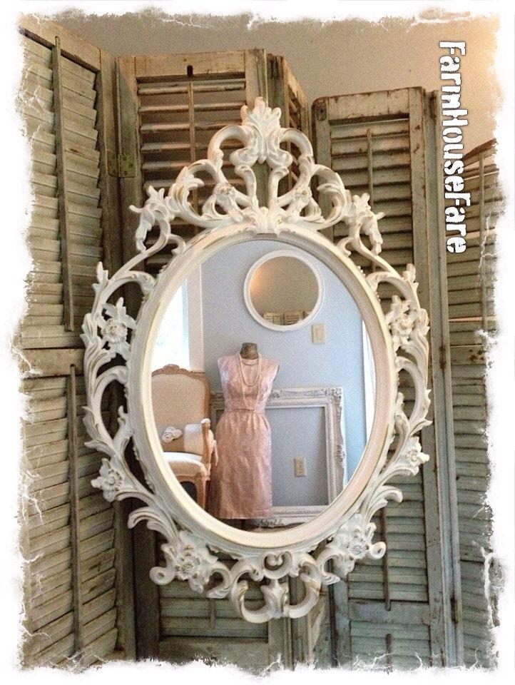 Oval wall mirror baroque mirror ivory shabby chic mirror for Baroque oval wall mirror