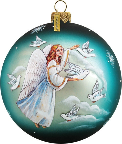 Holy Family With Angel Hair Glass Ornament: Christmas Ornament Scenic Glass Ornament Angel And Doves