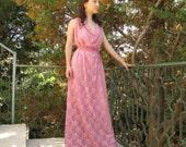 maxi dress, long lace chiffon dress soft pink rose evening gown for women fashion classic fantasy romantic goddess sleeveless bohemian dress