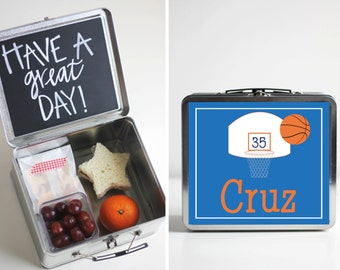 Personalized Tin Lunch Box with Chalkboard inside - Basketball