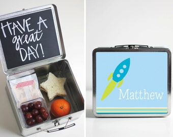 Rocket Ship Tin Lunch Box with Chalkboard inside